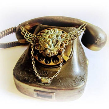 Rotary Phone Retro phone Antique phone Decorated Phone Home decor Vintage Phone Art Decor Bacelite Telephone
