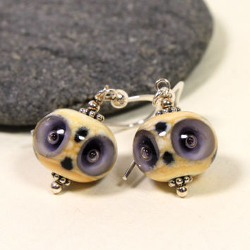 Purple & Ivory White Owl Glass Earrings, Lampwork Jewelry, Lampworked Earrings, Glass jewelry, Sterling Silver, Owl, Swedish Handmade