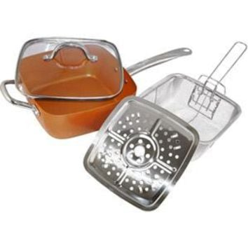 Eternal 4Pc Square Copper Cookware Set, 5-In-1 Functions Copper Cooking Pan