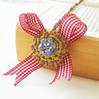 Checkerboard Bow Gold Crochet PendantRomantic Red and by sukran