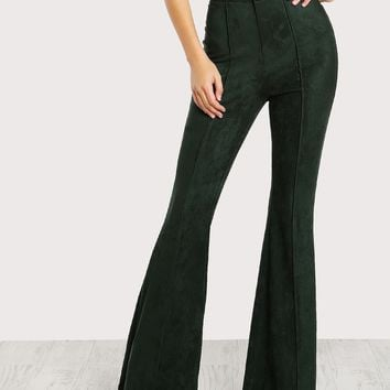 Flare Bottom Suede Pants