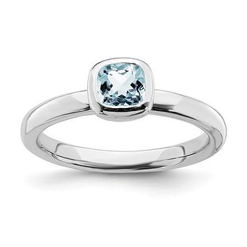 Sterling Silver Stackable Expressions Cushion Cut Light Aquamarine Ring