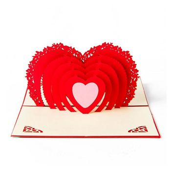 Hearts 3D Pop Up Greeting Card Handmade Valentine'S Day Card