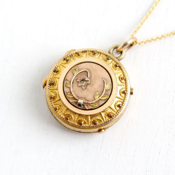 Sale - Antique Victorian Flower Locket Necklace - Late 1800s Gold Filled Floral Round Pendant Jewelry