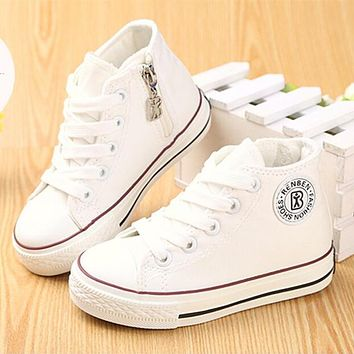 Kids shoes for girl children canvas shoes boys sneakers 2017 Spring autumn girls shoes White High Solid fashion Children shoes