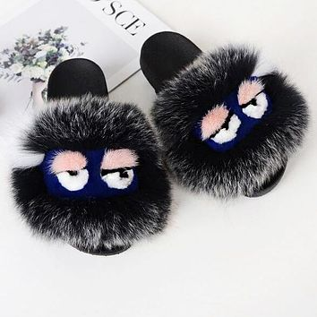 499fe6f901bb58 FENDI Hot Sale Women Casual Little Monsters Fur Flats Sandals Sl