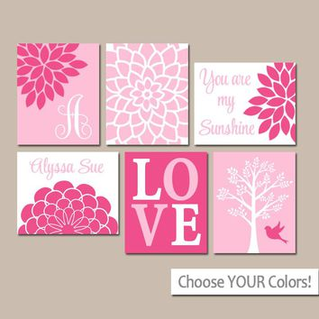 HOT PINK Nursery Wall Art, CANVAS or Prints, Baby Girl Nursery Decor, Personalized Girl Pictures, Sunshine Set of 6 Crib Pictures Wall Decor