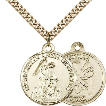 14K Gold Filled Guardain Angel Nat'l Guard Military Catholic Medal Necklace 617759453676