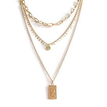 Three Layer Necklace with a Rectangle Pendant
