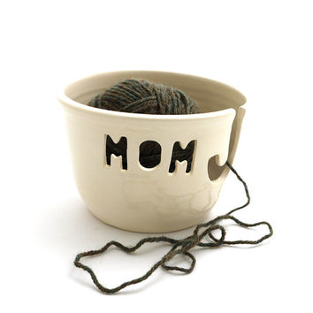 yarn bowl knitting crochet knit bowl ceramic mom , Mother's day gift for knitter or maker , yarn holder, with release