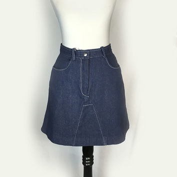 Vintage Bobbie Brooks Jean Skirt, Denim, Mini Skirt, Denim Skirt, 1970's, Small