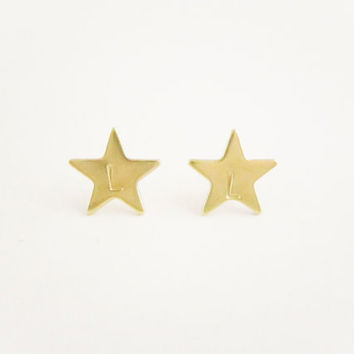 Initial Star Earrings,  Initial Earrings, Personalized Letter Earrings, Bridesmaid Jewelry Gift, Brass Gold, Spring Jewelry, Wedding Gift