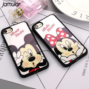JAMULAR Cartoon Minnie Mickey Mouse Phone Case for iphone X 7 6 6s Plus Rubber Silicone Mirror Cover for iphone 8 6s 5s SE Cases
