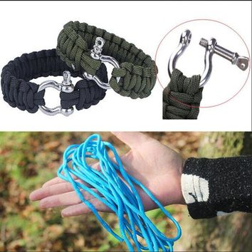 ONETOW Stainless Steel 550 Survival Paracord Bracelet Shackle Buckle Parachute Cord Buckle Bracelet Outdoor Camping Survival Kit Rope