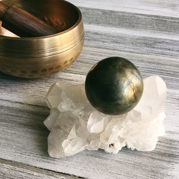 Hand Carved Indian Pyrite Sphere