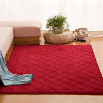 Coral Velvet Carpet Baby Play Crawling Red Rugs Grid Quil Area Rug Solid Anti-slip Bedroom Mat Large Carpet Rugs for Living Room