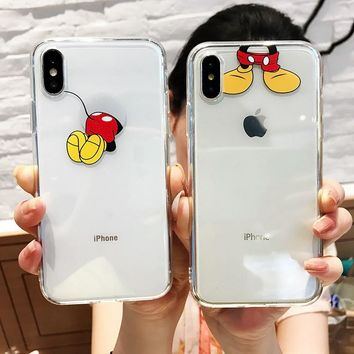 For iphone XS Max X XR XS case cute cartoon mickey mouse painted For iphone 6 6s 7 8 plus clear phone back cover