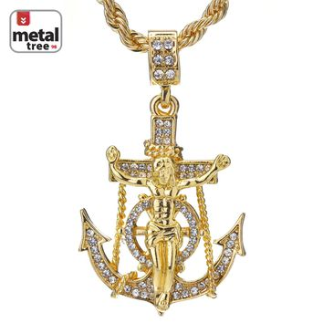 "Jewelry Kay style Men's Hip Hop 14K Gold Plated Anchor Jesus Cross Pendant 24"" Rope Chain Necklace"