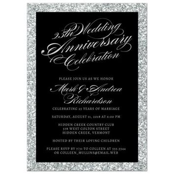 25th Wedding Anniversary Party Invitations - Silver Sparkle
