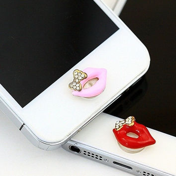 Cute Bowknot Lip Home Button Sticker for iPhone 4 4s 5 5s = 1651191108
