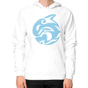 Tribal Killer Whale Tattoo in Blue Hoodie (on man)