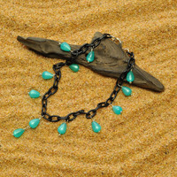 Lightweight Black Anklet with Vintage Lucite Aqua Moonglow Teardrops