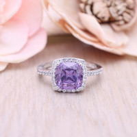 925 sterling silverpurple emerald / amethyst  square engagement ring with cubic zircinia