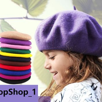 Classic 100% Wool Soft Warm French Fluffy Beanie Beret Hat Cap for Girls Kids