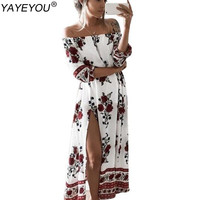 YAYEYOU New Summer Women's Vintage Dress Floral Print Off Shoulder Split Tube Long Party Maxi Dress Beach Dresses