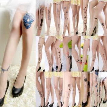 Free Shipping New Thin Models Fashion Rose Necklace Music notes Star Tattoo Socks Velvet Pantyhose Music Note Pantyhose
