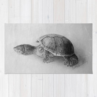 Black and White Turtle Area & Throw Rug by BravuraMedia | Society6