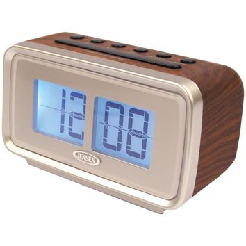 JENSEN(R) JCR-232 AM/FM Dual Alarm Clock with Digital Retro Flip Display