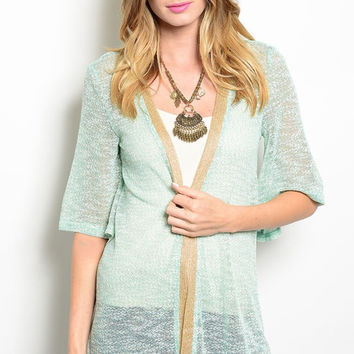 Draped Open Front Sheer Knit Cardigan
