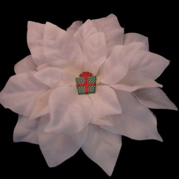 Hair Flower - Snowy White Poinsettia with Sparkly GIft Fascinator