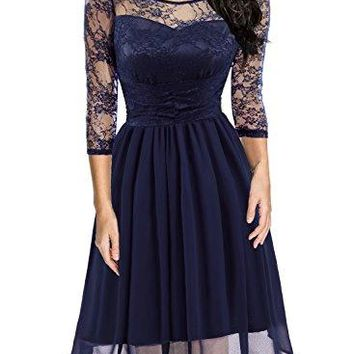 HELYO Womens Retro 1950s Style Floral Lace 34 Sleeve Cocktail Party Formal Swing Dress 581