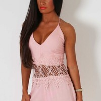 Yasmina Peach Lace Playsuit | Pink Boutique