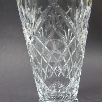 Signed Waterford Hand Cut glass vase Mercedes-Benz logo Irish Crystal