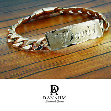 Royal Nameplate Bracelet, Sterling Silver, Rose Gold Plated, Personalized, Hand Engraved Letters in English, BR002C