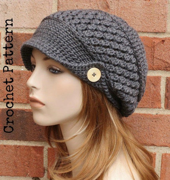 Shop Crochet Slouchy Hat With Brim On Wanelo