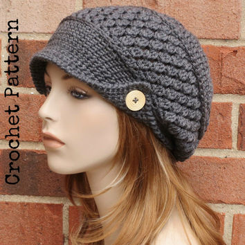 CROCHET HAT PATTERN Instant Download Pdf - Finley Newsboy Slouchy Brimmed Beanie Hat Womens - Permission to Sell