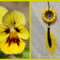 Yellow and Black Mini Dream Catcher With Blue Sandstone Gemstone, Dream Catcher Handbag Charm, Car Accessories