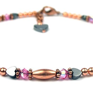 Handmade Copper Beaded Anklets Swarovski Crystal  Birthstone Pink Tourmaline October