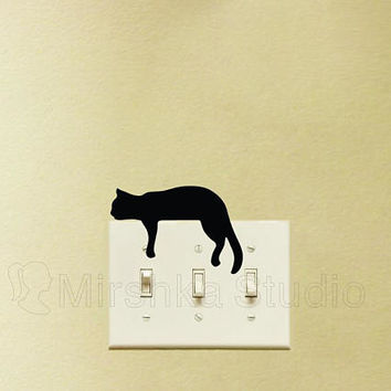 Sleepy Cat Light Switch plate Wall Sticker - Cute Cat Decal - Kids Room Wall Decor - Gifts For Cat Lovers - Cool Decals - Feline Wall Art