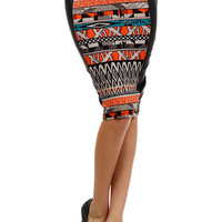 Tribal Faux Leather Pencil Skirt
