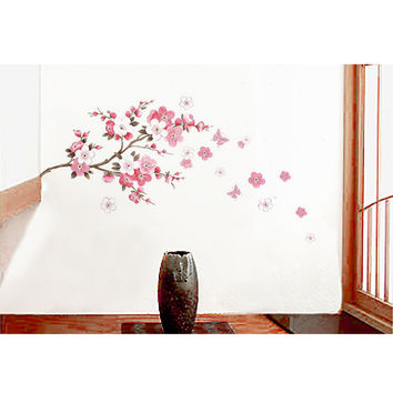 ZooYoo Cherry Blossom Tree Branch Waterproof Removable PVC Vinly Wall Sticker Home Art Decor Decal(60*150cm)