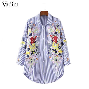 Vadim women flower butterfly embroidery striped long shirts pleated long sleeve blouse summer casual brand tops LT1841