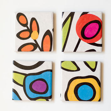 Modern Ceramic Coasters, Abstract Florals, set of 4
