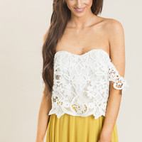 Allie White Off the Shoulder Lace Top