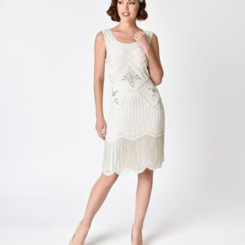 Unique Vintage 1920s Style White & Silver Beaded Ines Cocktail Dress