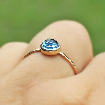 Swiss Topaz 14 K Gold Ring, blue topaz jewelry, rose cut topaz ring, simple gold ring, wife gold gift, engagement ring, anniversary ring